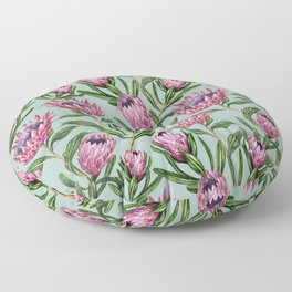 Teal Protea Floral Floor Pillow