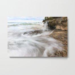 Elliot Falls on Miners Beach - Pictured Rocks, Michigan Metal Print