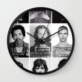 The Usual Suspects - Celebrity Mug Shots, Elvis, Johnny Cash, Jimi Hendrix, Bowie, Jagger, Belushi  Wall Clock