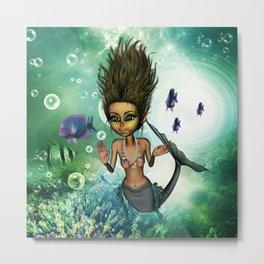 Sweet little mermaid in the deep ocean Metal Print