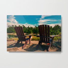 Muskoka chairs at the cottage Metal Print