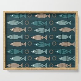 Mid Century Modern Fish Pattern Dark Teal Bronze Serving Tray