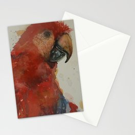 Parrot watercolor red Stationery Cards