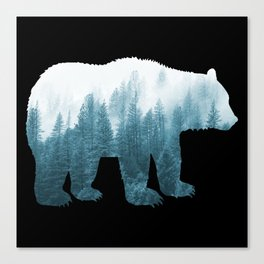 Misty Forest Bear - Turqoise Canvas Print
