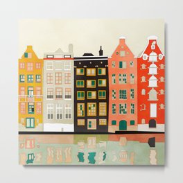 Travel europe city shape abstract art Metal Print