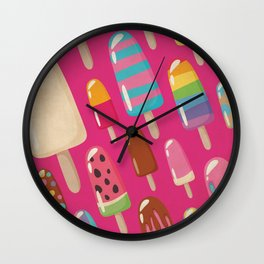 A Rainbow of Popsicles on Magenta Wall Clock