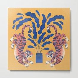 Marigold Tigers Metal Print