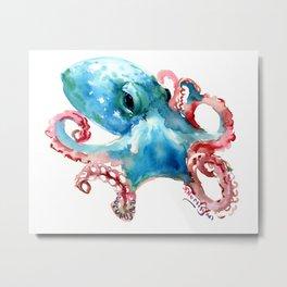 Octopus, Turquoise Pink Metal Print
