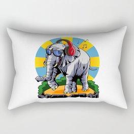 Hipster Elephant | Cool Glasses Headphones Swag Rectangular Pillow