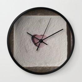 Rose Quartz heart in a zen garden Wall Clock