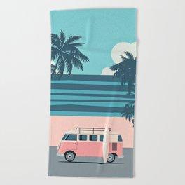 Surfer Graphic Beach Palm-Tree Camper-Van Art Beach Towel