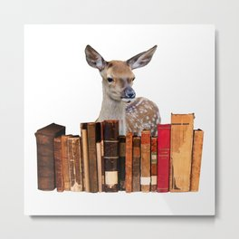 Old Books Deer Reindeer  Metal Print