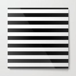 Large Black and White Horizontal Cabana Stripe Metal Print
