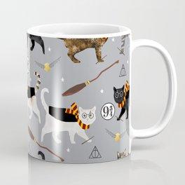 Cat wizard cats wizard school pattern Kaffeebecher