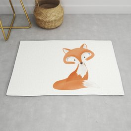 Cute fox kids illustration on white background Rug