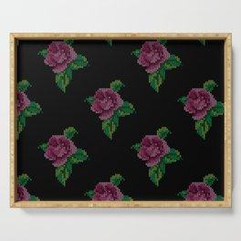 Rose cross stitch - black Serving Tray