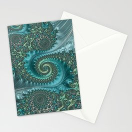 Feathery Flow Aqua - Fractal Art  Stationery Cards