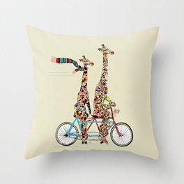 giraffe days lets tandem Throw Pillow