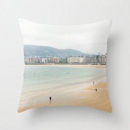 La Concha Beach, San Sebastian - Donostia-San, Spain Throw Pillow