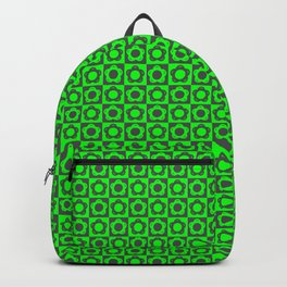 60s RETRO FLOWER - BLACK AND GREEN Backpack
