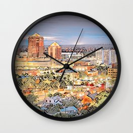 Downtown Albuquerque Cityscape Wall Clock