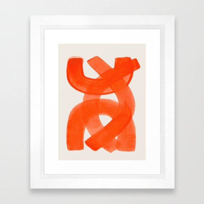 Mid Century Modern Abstract Painting Orange Watercolor Brush Strokes Gerahmter Kunstdruck