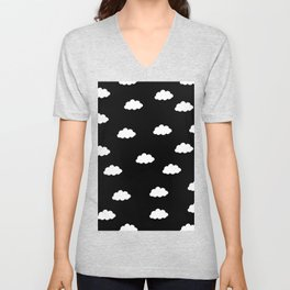White clouds in black background Unisex V-Neck
