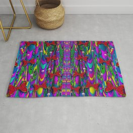 Butterflies and pearls in the rainbow forest Rug