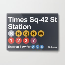 new york subway sign Metal Print