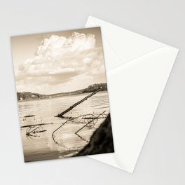 Cloudy Möhne Reservoir Lake 2 sepia Stationery Cards