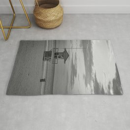 Clearwater Beach Florida Lifeguard Hut Tampa Bay Ocean Black White Print Rug