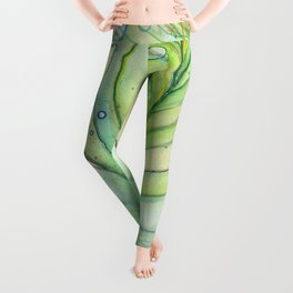Peacock Feather Green Texture and Bubbles Leggings