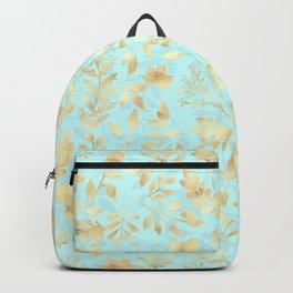 Elegant Gold Glitter Foliage Light Mint Design Backpack