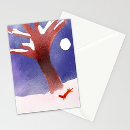 Fox In The Snow Illustration Stationery Cards