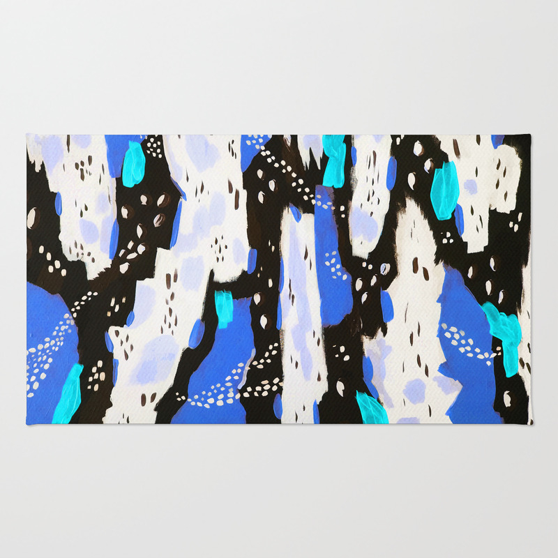 Spotted Abstract In Neon Blue Rug by Amandalaurelatkins RUG7709795