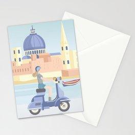 Scooter ride in Valletta Malta Stationery Cards