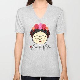 Viva la Frida, artist, flowered Unisex V-Neck