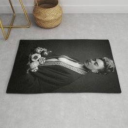 Frida Kahlo Portrait with fruit from Frida's Garden at Casa Azul, Mexico black and white photograph Rug