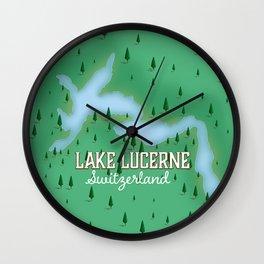 Lake Lucerne Switzerland map poster. Wall Clock