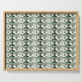 Uncut Sheet of Proposed African American Icon Harriet Tubman U.S. Mint 20 Dollar bills Serving Tray
