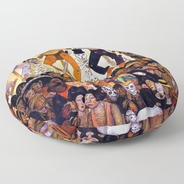 Classical Masterpiece 'Le-Jour-des-Morts' - The Dead, 1924 by Diego Rivera Floor Pillow