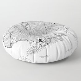 Brooklyn White Map Floor Pillow