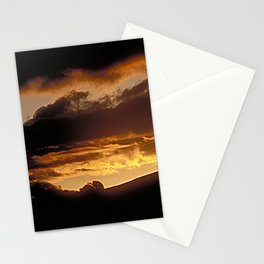Golden Sunset Over Mountain Silhouette Stationery Cards