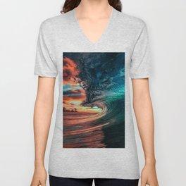 Cool Blue Ocean Waves Splashing By The Sunset Unisex V-Neck