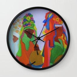 Festa do Rosario, Colorful Art, Brazil, Parade, Headdress and Drums Wall Clock