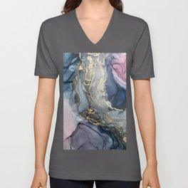 Blush, Payne's Gray and Gold Metallic Abstract Unisex V-Ausschnitt