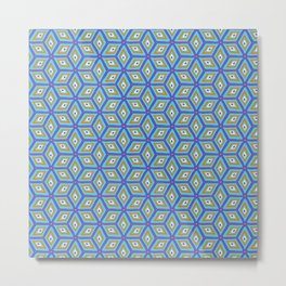 Blue and Gold Tilted Cubes Pattern Metal Print
