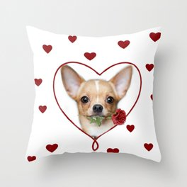 Valentines heart Chihuahua dog Throw Pillow