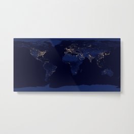 Earth from space blue and gold space night sky photograph Metal Print