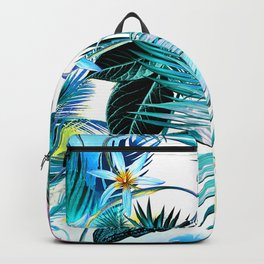 Hawaiian Tropical Island Floral & Leaves Print Backpack